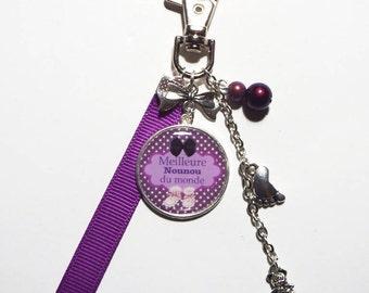 "Keychain - nanny bag charm / ""Best Nanny in the world"" / gift"