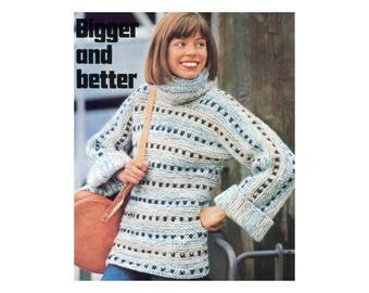 Bulky Pullover Knitting Pattern - Vintage Sweater with Cowl Neck