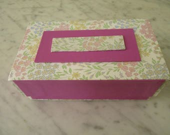 Rectangular box leatherette fabric and pink flowers