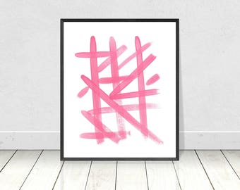 Pink Abstract Brushstrokes, PRINTABLE Art, Abstract Wall Art, Geometric Line Print, Modern Abstract, Pink Wall Art, Pink Decor, Wall Art