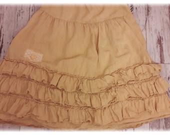 Bohemian skirt pure linen washed well soft bottom 3 ruffles, elastic waist