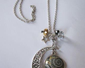 "Crescent Moon ""Fossil"" cabochon pendant necklace"