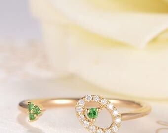 Tsavorite Ring Rose Gold Open Ring Diamond Halo Circle Oval Unique Cuff Ring Wedding Gift Anniversary Promise Women Thin Dainty Birthday