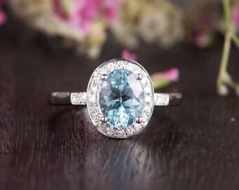 Unique Oval Cut Aquamarine Engagement Ring Bridal Ring White Gold Diamond Halo Antique Retro March Birthstone Anniversary Promise Women Gift