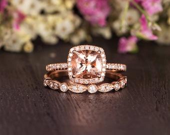 Rose Gold Bridal Set Morganite Engagement Ring Cushion Cut Diamond Halo Antique Retro Anniversary Promise Women Bridal Wedding Half Eternity
