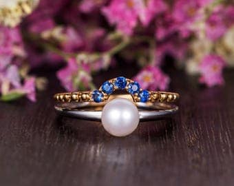 Unique Pearl Engagement Ring White Gold Mixed Metal Double Bar Antique Beaded Birthstone Gold Minimalist Women Anniversary Sapphire Promise