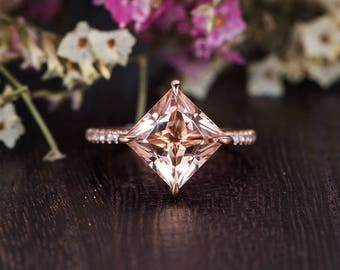 Princess Cut Morganite Engagement Ring Unique Morganite Ring Rose Gold Bridal Diamond Antique Anniversary Wedding Band Women Kite Solitaire