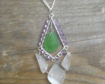 Captivation/ Green and white beach glass, purple glass beads