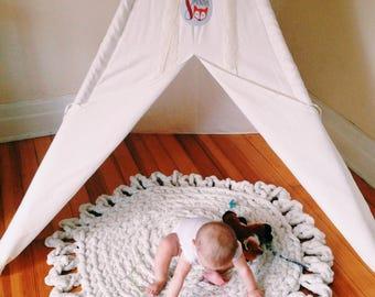 Washable Crochet Chunky Nursery Rug, Handmade Round Super Soft Bathroom Rug, Bohemian Plush Rug, Play Area Baby Rug, Decorative Edging Rug