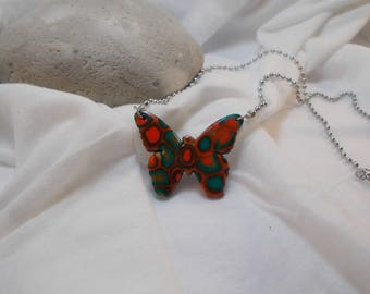 multicolored Butterfly called polymer clay necklace