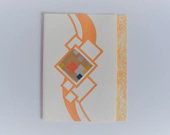 Card geometric square patterns orange / beige all occasions