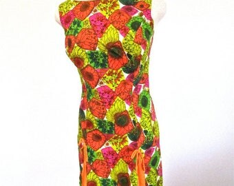 M-L, 60s Mod Floral Print Cotton Orange Green Pink Mid Century Mad Men Summer Resort