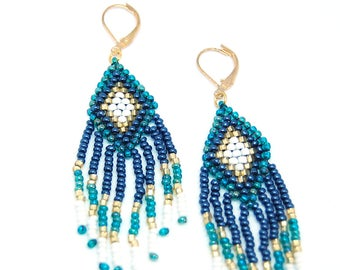 Shaman - Rhombus and earrings hand woven fringes