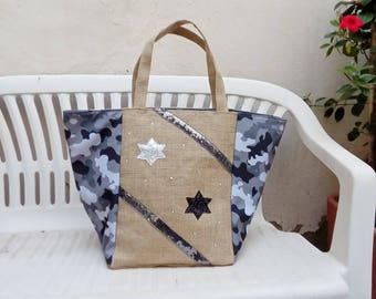 Burlap tote bag and camouflage fabric