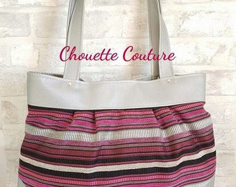 Faux leather grey tote bag and fabric Rose/black/grey stripes