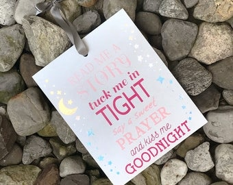 Kiss Me Goodnight Hanging Wood Sign