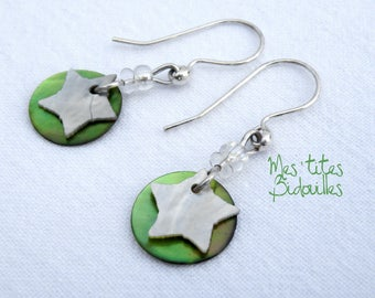 Star Pearl and green earrings dangle 925 sterling silver.