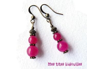 Earrings * stones and BRONZE * Fuchsia Jade