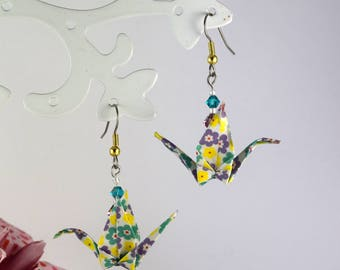 Origami crane swarovski crystal earrings