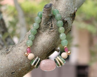 "Gemstone bracelet woman ""Sadec"" - aventurine, rose quartz, coral, zoisite and plated gold - Crystal healing - Bohemian chic. -265."