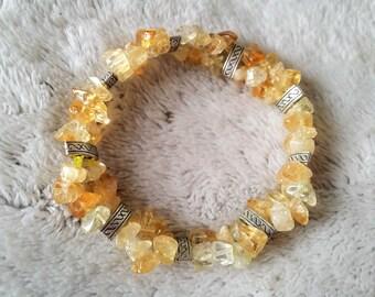 Bracelet double row of citrine gemstone