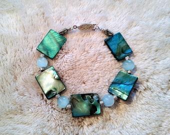 rectangular blue pearls bracelet