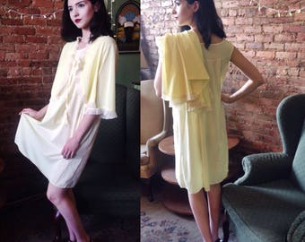 Vintage 1950's Union Two Piece Night Gown and Capelet Set in Canary Yellow