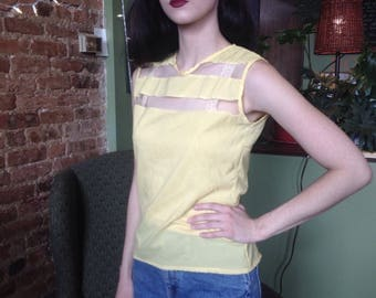 Vintage 1960's Canary Yellow Sleeveless Blouse