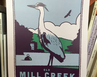 Old Mill Creek in Dartmouth print poster A3