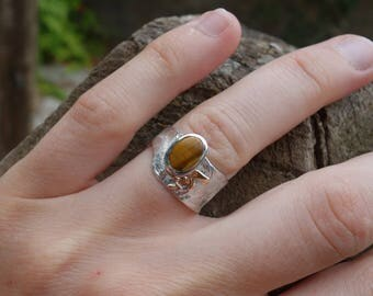 Silver ring, ring Tiger eye, reticulated silver ring, rustic ring, silver ring gold, women, unique ring, textured rings.