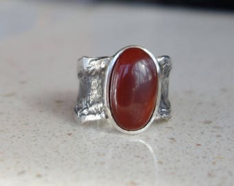 Man sterling silver, agate ring, ring unique, designer jewelry, ring man, oxidized ring, Carnelian, gemstone ring.