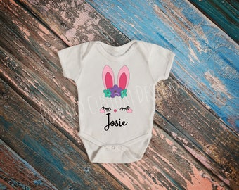 Custom Bunny Name T-Shirt, Custom Bunny Name Onesie, Easter Bunny Onesie, Kid's Easter Bunny Tee