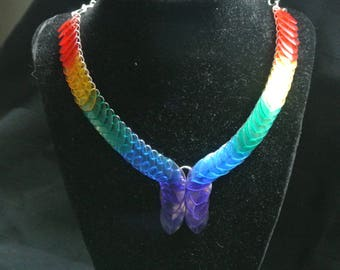 rainbow flowing scale necklace