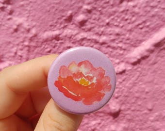Flower Pin back Button Pink Watercolor