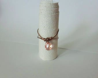 Boho Blush wire wrapped ring