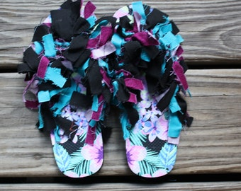 Purple Flower Pattern Size 1-2 Kid's | Flip Flops | Shaggy Shoes | Unique and one of a kind!