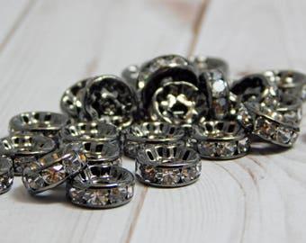 25 or 50pcs - 10mm - Rhinestone Rondelle - Gunmetal Spacer Beads - Crystal Rhinestone - Crystal Spacers - Rhinestone Spacer Beads - (B682)