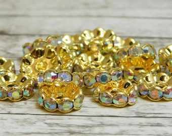 25 or 50pcs - 10mm - Rhinestone Rondelle - Gold Spacer Bead - Crystal Rhinestone - Crystal Spacers - Rhinestone Spacer Beads - (3445)