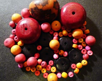 72 red wooden beads, tagua and coconut wood, orange
