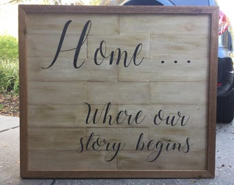 Home Where Our Story Begins Distressed Wood Sign Wall Art