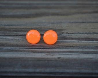 Neon Orange Polymer Clay Earrings