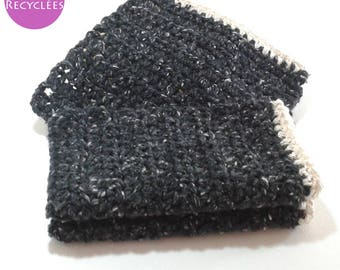 Set of 3 dishcloths tawashi cotton/acrylic recycled 11 cm black speckled white, ecru edging