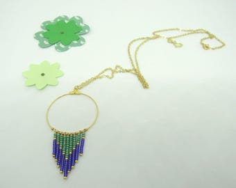 Gypsy collection: round, blue and green seed beads, gold chain necklace - free earrings