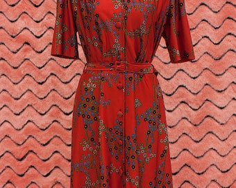 1970's floral button up belted dress