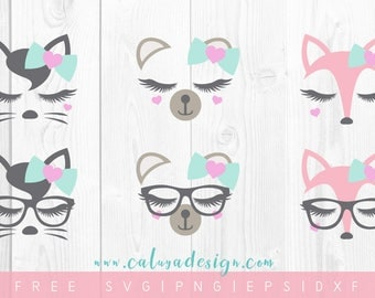 FREE SVG & PNG Link | Animal Faces Cut Files, svg, png, dxf, eps | Commercial Use | circuit, cameo silhouette | Valentine Cut File