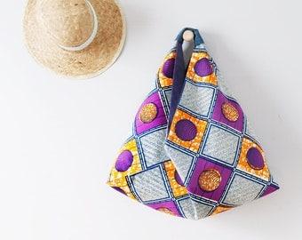 Grand sac bohème en wax / Sac Origami réversible en tissu africain / Sac japonais femme / Tote bag tissu africain / Upcycling