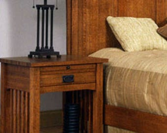 Classic Stickley Style Mission Oak 1 Drawer Nightstand Table