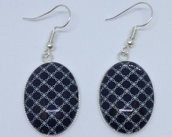 Silver plated cabochon earrings