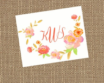 Printable Salmon Floral Monogram (Fold-over Note Card)