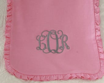 Embroidered Ruffle Burp Cloth - Monogram Ruffle Burp Cloth - Newborn Burp Cloth - Pink Monogram Girl - Baby Shower Gift